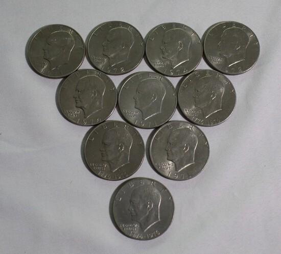 Lot of (10) Eisenhower Dollars