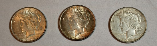 (3) Peace Silver Dollars