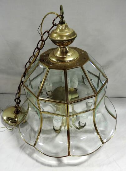 6 Light Brass & Glass Chandelier