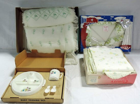 3 Vintage Baby Blankets In Boxes With HanksCraft Baby Feeding Set In Box