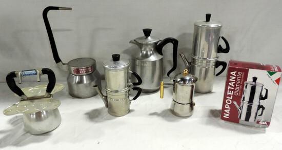 Tray Lot Italian Espresso Pots And Accessories