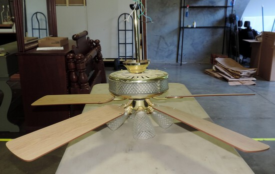 Brass And Pressed Glass 4 Light Ceiling Fan