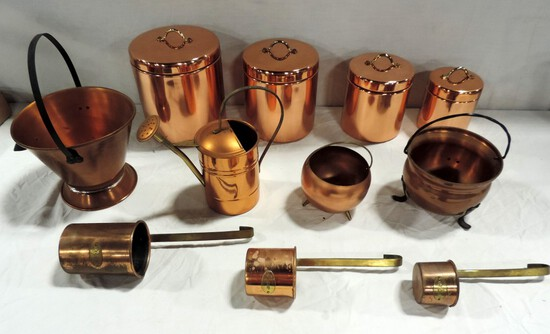 Tray Lot Copper Kitchen Items