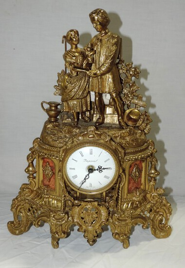Brass Figural Mantel Clock