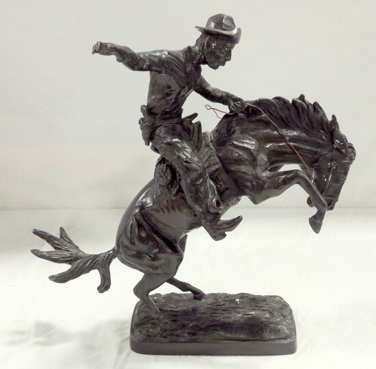 """Signed Remington Bronze """"Bronco Busters"""""""
