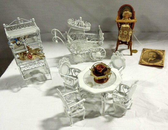Tray Lot White Wire Doll House Furniture