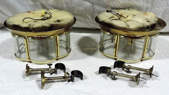 Pair Of Brass & Glass 3 Light Ceiling Fixtures