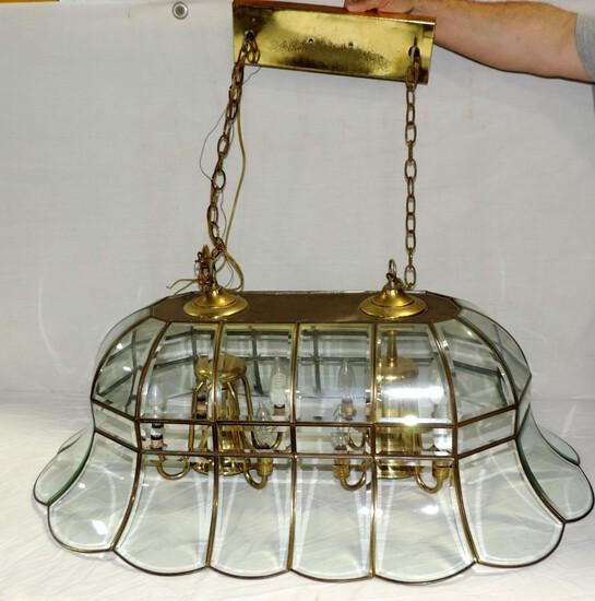 Brass & Clear Glass 8 Light Hanging Chandelier