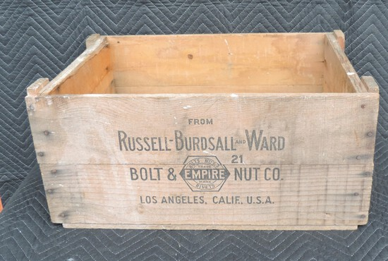 Russell-Burdsall and Ward Bolt and Nut Company Wood Crate