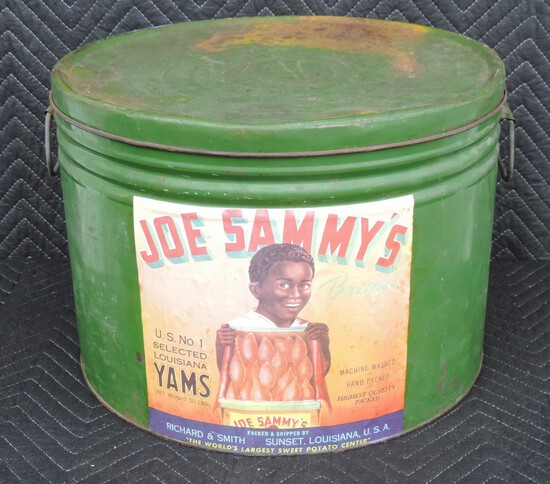 Early Green Large Tin with Joe Sammy's Yam Label