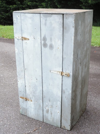 Antique Blue/Grey Wood Country Cupboard