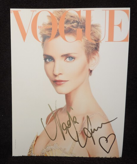 Autographed NADAJA AUERMANN Cardboard Cover of VOGUE.