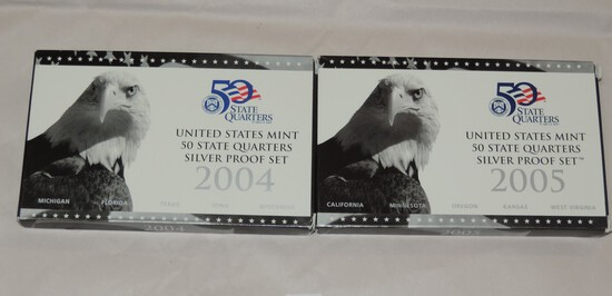 2004 and 2005 US Mint State Quarters Sets