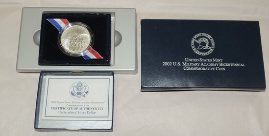 2002 US Mint West Point Silver Dollar in Blue Box