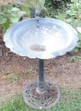 Black Iron Bird Bath with Ornate Base