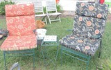 (2) Green Metal Mesh Chairs and Iron Tile Top Table