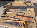 Lot Of Saws, Sledge Hammer & Log Roller
