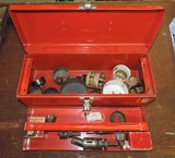 Red Metal Tool Box With 18+ Hole Saws