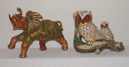 Lot of Ceramic Owls and Elephant