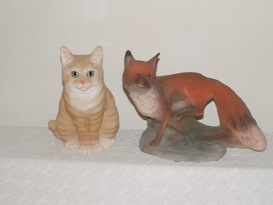Lot of Ceramic Fox and wood Cat