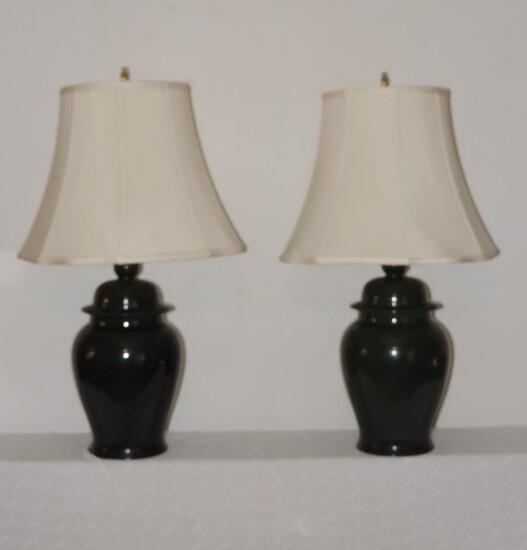 Pair of 1980's Green Ceramic Lamps