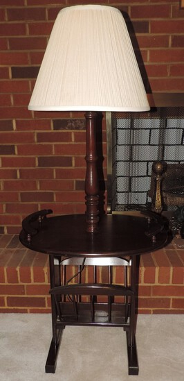 Vintage Oval Wooden Lamp Table