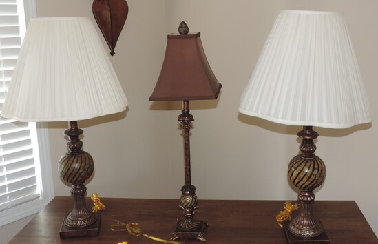 Lot of (3) Decorative like new Metal Lamps