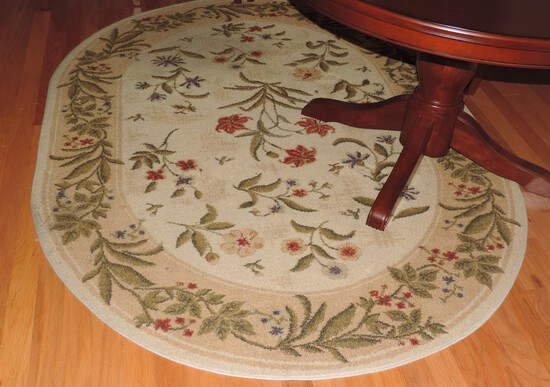 Oval Rug with Floral Design