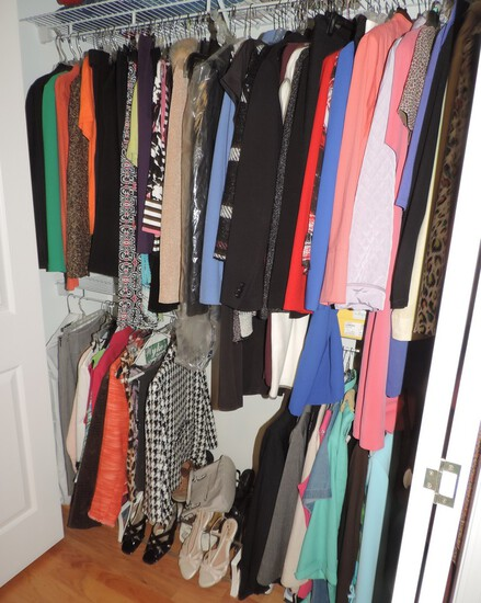 Closet lot of Nice Clean Ladies Clothes and Shoes