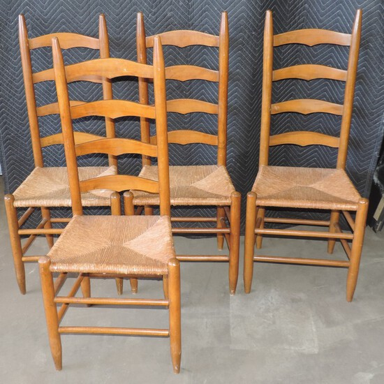 (4) Antique Chairs with Woven Bottoms