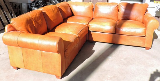(3) Piece Light Brown Leather Sectional