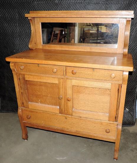 Antique Oak Buffet with Mirror