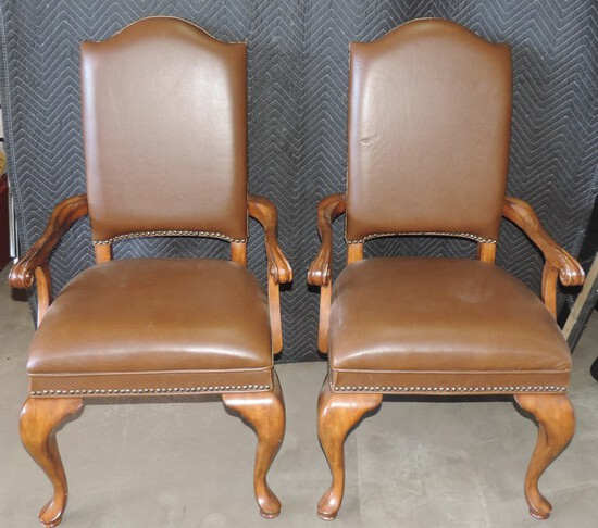 Pair of High End Leather and Wood Chairs