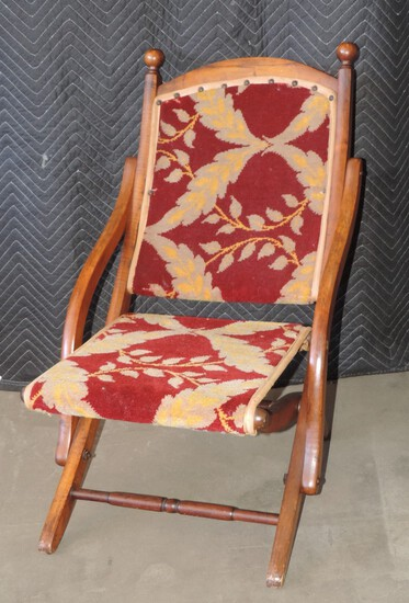 Antique Fold Up Chair with Victorian Cloth Seat