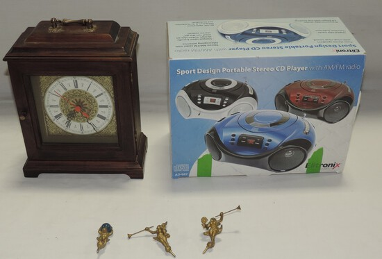 ELITRONIX STEREO CD PLAYER & WOOD MANTEL CLOCK