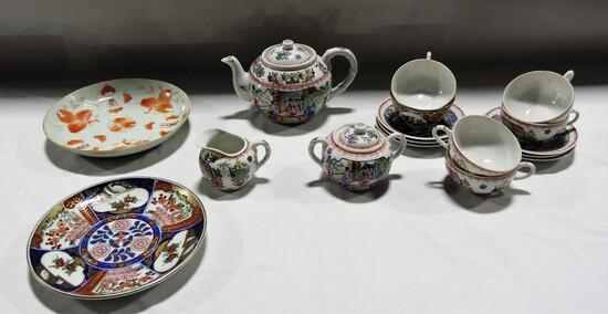 ORIENTAL TEA SET AND PLATES