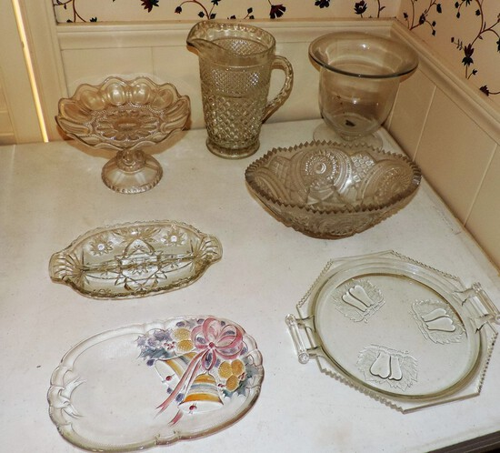 Lot of 7 pieces of vintage glass