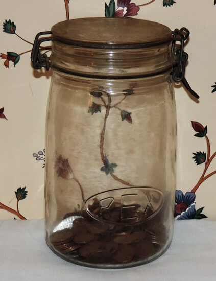 Rex  Canning jar with wheat pennies