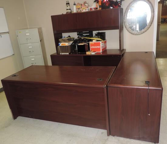 4 Pc Mahogany Hon Executive Desk
