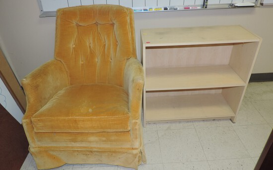 Vintage Gold Velour Swivel Chair/Rocker with 2 Shelf Bookcase.