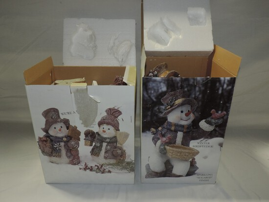 2 Holiday Kirkland Resin Snowman Figures In Boxes