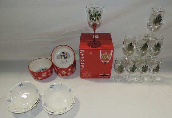 Christmas Glassware & China Lots