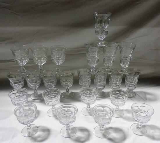 23 Pc Heavy Pressed Glass Stemware Lot
