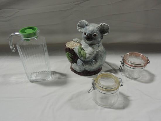 Ceramic Panda Cookie Jar, Refrigerator Water Pitcher & Canning Jars