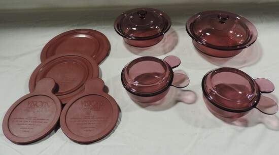 4 Pcs. Corning Vision Glass Bakeware With Lids
