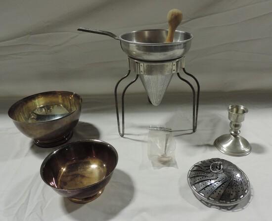 Vintage Aluminum Colander On Stand, Silver-plate & Pewter Candlestick
