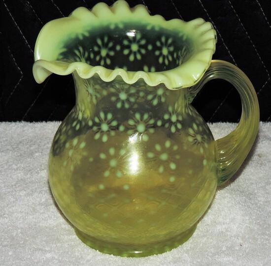 Fenton Vaseline Glass Water Pitcher