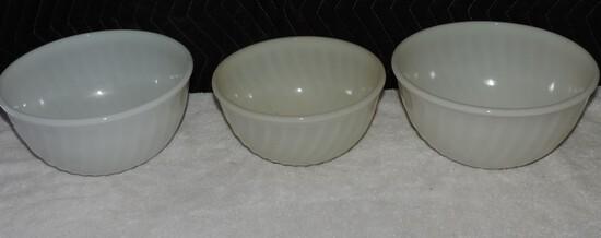(3) Fire king White Swirl Bowls