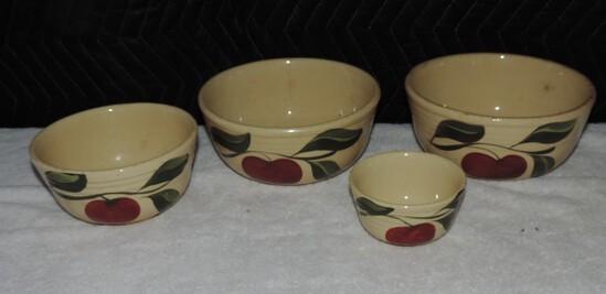 Lot of (4) Watt Apple Pottery Bowls