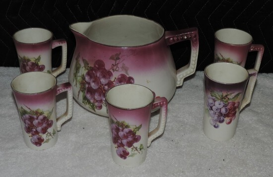 Porcelain Pitcher with 5 Cups